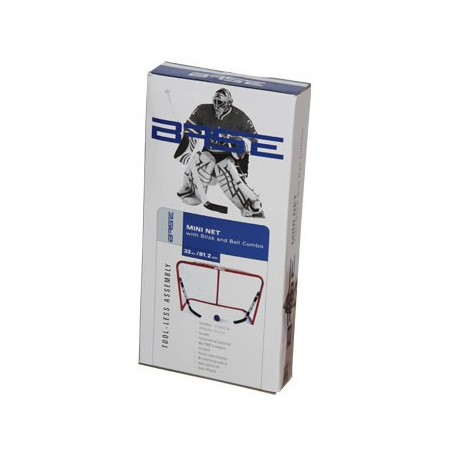 Base metal hockey goal 32'' with two mini sticks and a ball