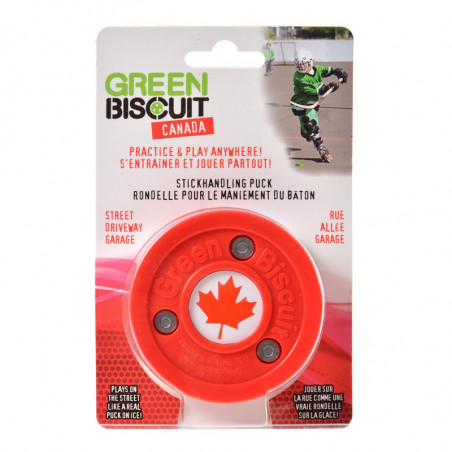Green Biscuit puck for roller hockey